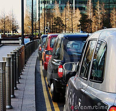 Row of london taxis
