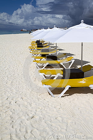 Row of Lunge Chairs and Umbrellas