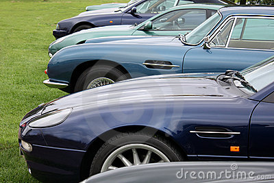 A row of luxury cars