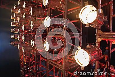 Row of many projectors