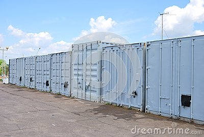 A row of metal containers