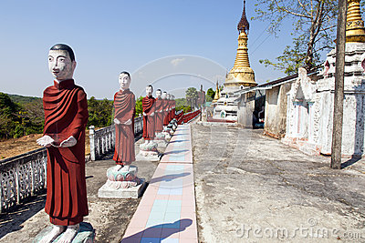 Monk Statues in Myanmar