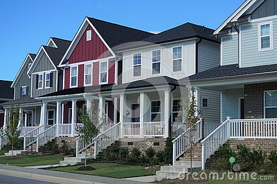 A Row of Multicolored Houses in North Carolina Stock Photo