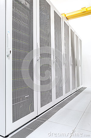Row of network servers in datacenter room