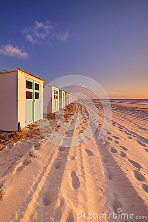 Free Row Of Beach Huts At Sunset, Texel Island, The Netherlands Royalty Free Stock Image - 67953526