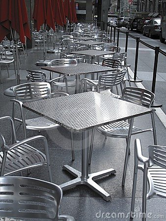 Free Row Of Empty Metal Tables And Chairs Royalty Free Stock Image - 9754766
