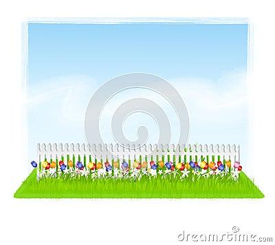 Free Row Of Tulips Sky White Fence  Royalty Free Stock Photo - 4463375