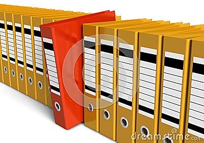 Row of office folders