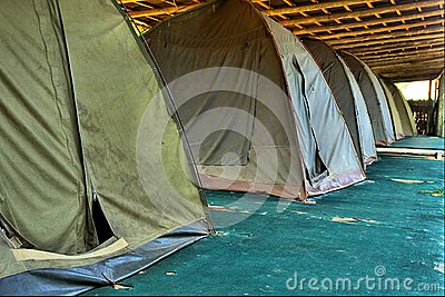 Row of old camping tents