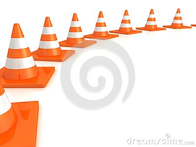 Row of orange road traffic cones on white
