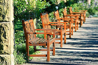 Row of outdoor garden seats