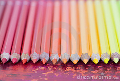 Row of Pastel Colored Pencils
