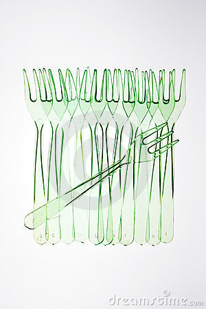 Row of plastic forks