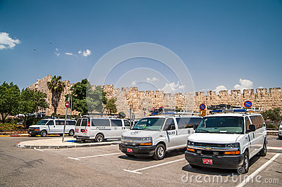 Row of police cars Editorial Stock Photo