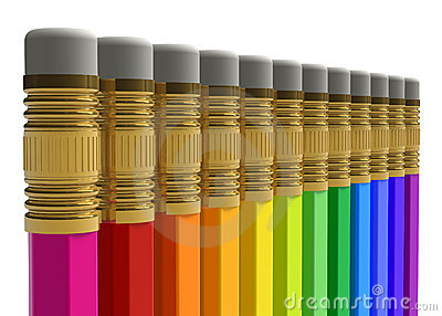 Row of rainbow pencils