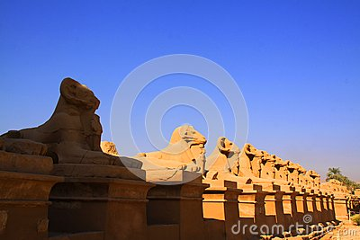 Row of ram statues at Karnak Temple in Luxor, Egypt