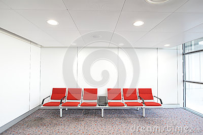 Row of red chair at airport