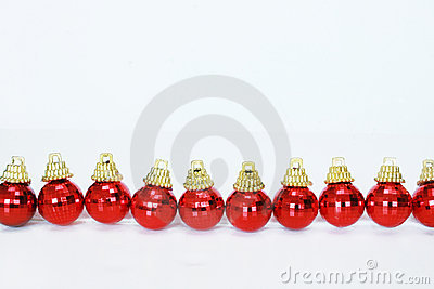 Row of red christmas balls