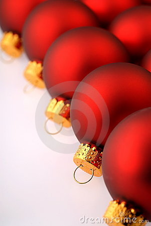 Row of Red Christmas Ornaments