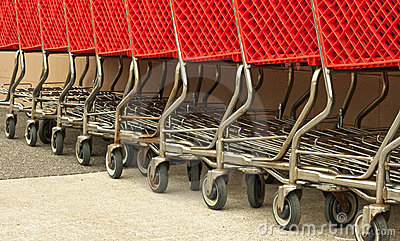 Row of red shopping carts