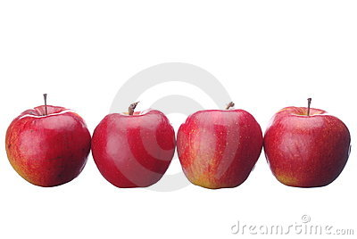 Row of red tasty apples