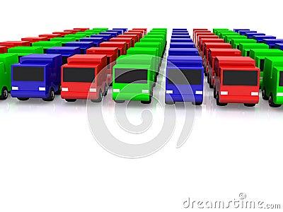 Row of RGB cars. 3D