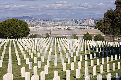 Rosecrans Military Cemetery, California Editorial Stock Photo