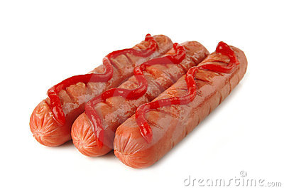 Row of sausages with ketchup