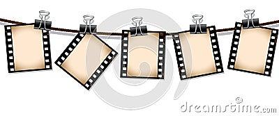 Row of sepia film strips