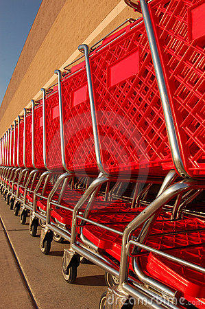 Row of shopping carts