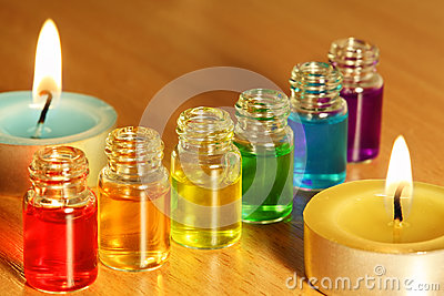 Row of six bottles with aroma oils