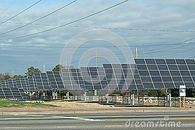 Row of Solar Energy Panels