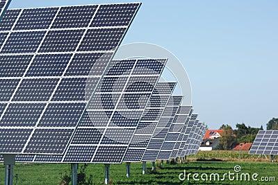 Row of solar panels