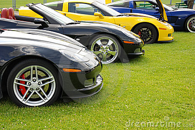 Row of sports cars
