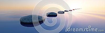Stones in a calm sea at sunset Cartoon Illustration