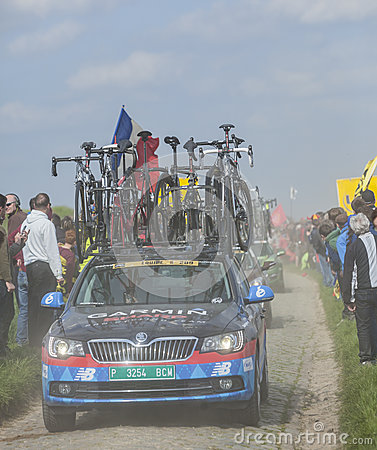 Row of Technical Vehicles- Paris- Roubaix 2014 Editorial Image