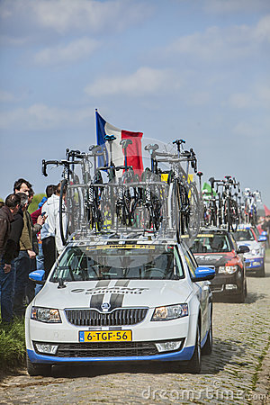 Row of Technical Vehicles- Paris- Roubaix 2014 Editorial Stock Photo
