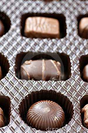 Row of three delicious chocolates