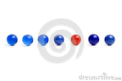 Row of vintage marbles