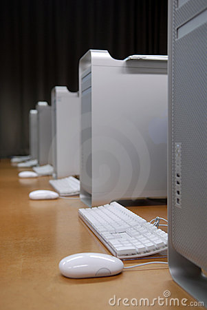 Row of white computers
