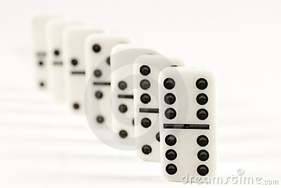 Row of white dominoes