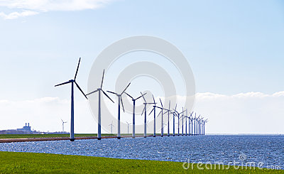 Row of wind turbines