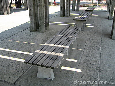 Row of wooden benches