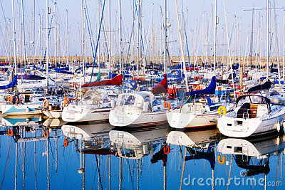 Row of yachts at Howth harbo in Dublin