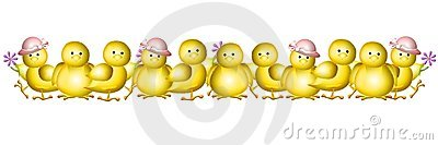 Row of Yellow Baby Easter Chicks Border
