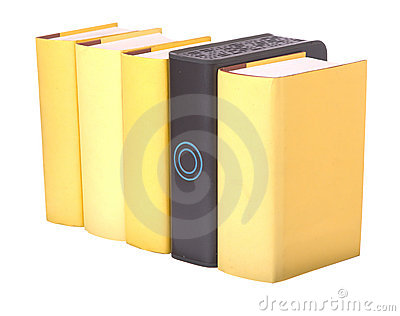 Row of yellow hardback books with a computer hard