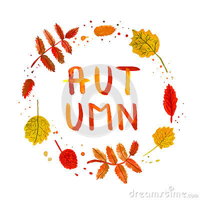 Free Rowan And Birch Leaves Vintage Watercolor Hand Drawn Background And Card With Handwritten Autumn Text Vector Stock Photo - 44628350