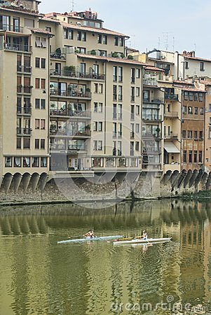 Rowing on the Arno River Editorial Photography
