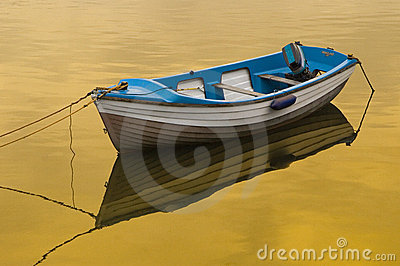 Rowing Boat Golden Reflection