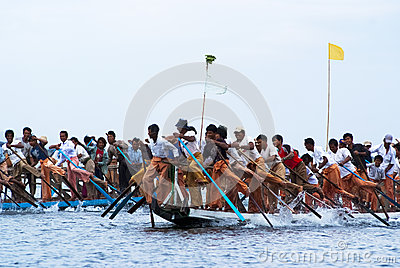 Rowing competition on Inle Lake Editorial Stock Photo